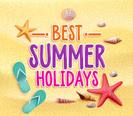 Best Summer Holidays Colorful Title Words in Yellow Sand