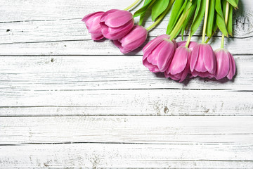 bouquet of spring pink tulips