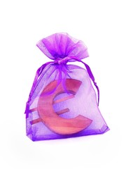 gift euro symbol in transparent bag