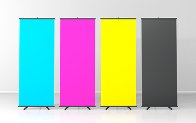 CMYK blank roll up posters - vertical billboard for text