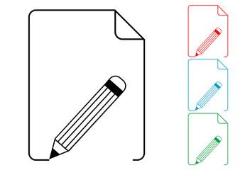 Pictograma lapiz con documento en varios colores