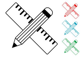Pictograma lapiz y regla en varios colores
