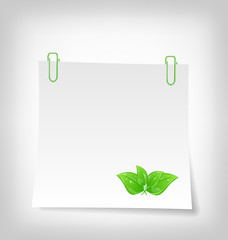 blank note paper with green leaves, isolated on white background