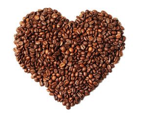 Image of heart shaped roasted coffee beans isolated on white bac
