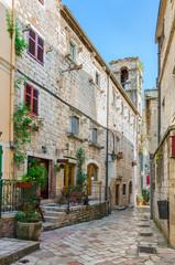 Brick street in ancient city of Kotor