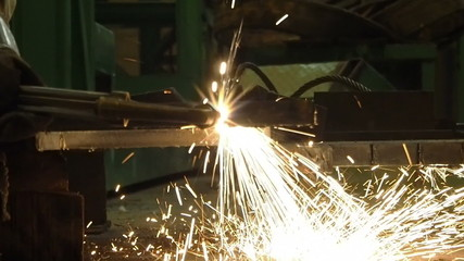 worker cutting steel by using metal torch, Slow motion.