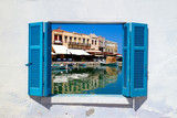 Fototapeta Panoramic view of old city in Rethymno at Crete, Greece