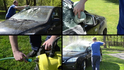 Man wash car with sponge and high pressure tool. Video collage