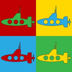 Pop art submarine symbol icons.