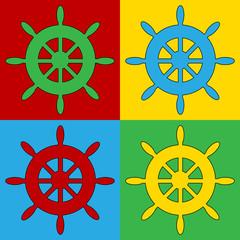 Pop art steering wheel symbol icons.
