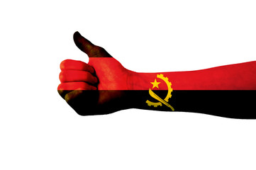Main avec pouce levé, drapeau Angola