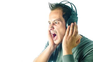 man listen to music