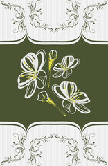 Ornamental element with stylized blooming cherry
