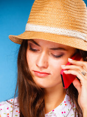 girl talking on mobile phone smartphone