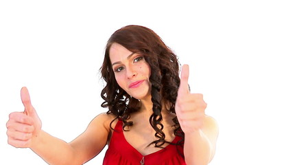 Beautiful woman thumb up.