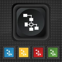 Local Network icon sign. symbol Squared colourful