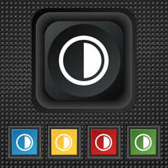contrast icon sign. symbol Squared colourful button