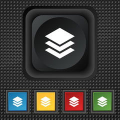Layers icon sign. symbol Squared colourful buttons