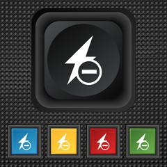 Photo flash icon sign. symbol Squared colourful bu