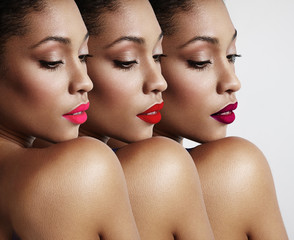 three woman with a different bright lips