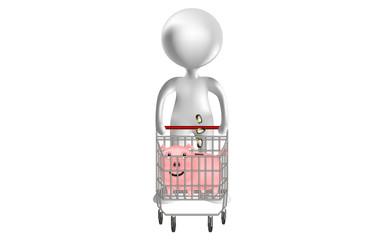 monigote 3d v3 con carro de la compra y cerdito ahorrador