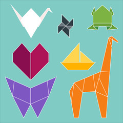 The vector illustration of origami objects