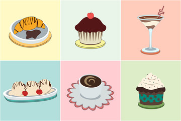 The vector illustration of set of sweets