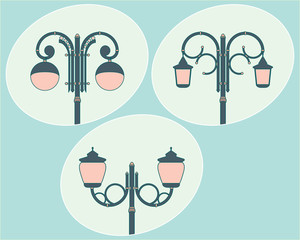 The vector illustration of set of street lamps