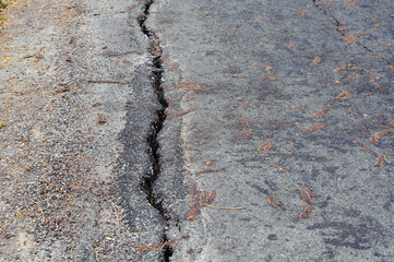 Crack old asphalt road