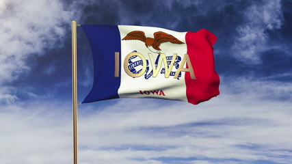 iowa flag with title waving in the wind. Looping sun rises style
