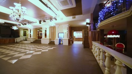 Panorama of empty hall at restaurant in classical style