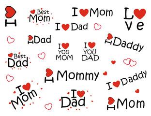 Sticker: I love mom, I love dad