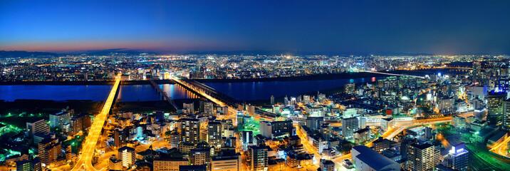 Osaka night rooftop view