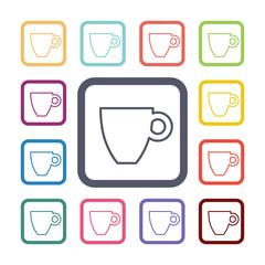 coffee flat icons set.
