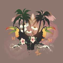Tropical design with toucan, palm and flowers