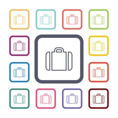 Case flat icons set