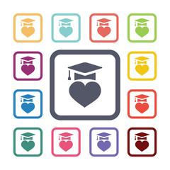 love education flat icons set