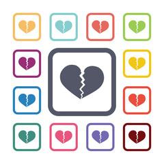 broken heart flat icons set