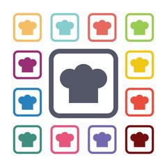 chef hat flat icons set