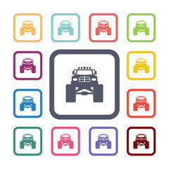 monster car flat icons set