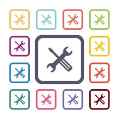 repair flat icons set