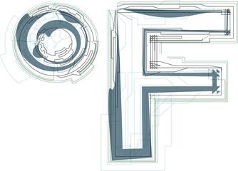 Abstract Fahrenheit Symbol