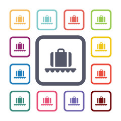 luggage on airport flat icons set