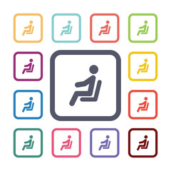 seating man flat icons set