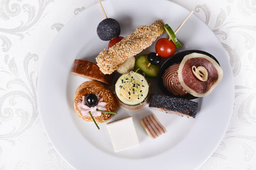Italian appetizer menu, with meat and fresh vegetables