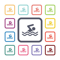swim flat icons set