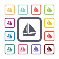 sail boat flat icons set