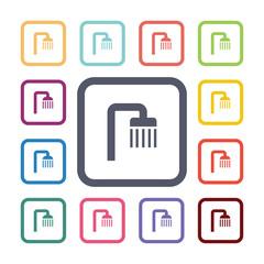 shower flat icons set