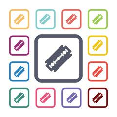 razor flat icons set