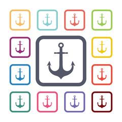 anchor flat icons set